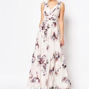 Little Mistress chiffon foral maxi prom dress